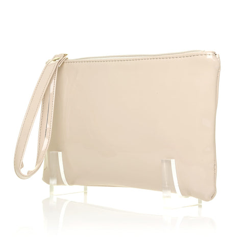 CHEEKY Nude Patent PU Leather Clutch Bag/Purse With Wrist Strap - ShuWish.com