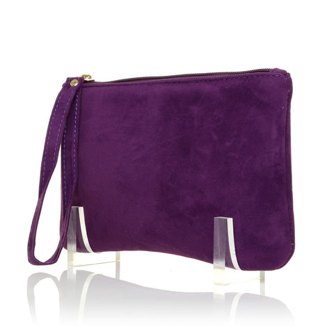CHEEKY Purple Faux Suede Clutch Bag/Purse With Wrist Strap - ShuWish.com