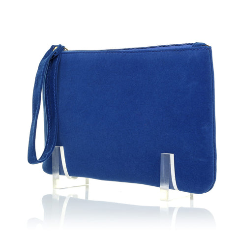 CHEEKY Royal Electric Blue Faux Suede Clutch Bag/Purse With Wrist Strap - ShuWish.com