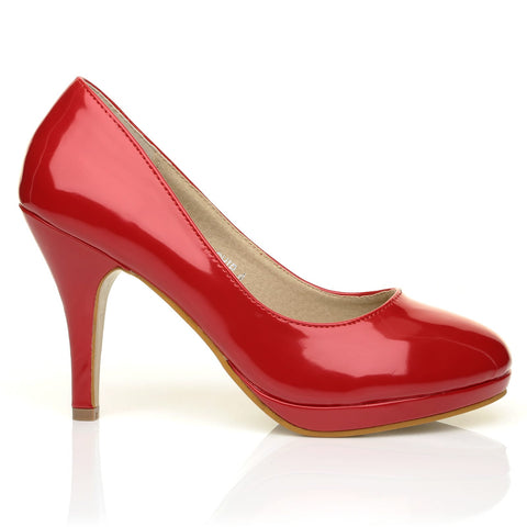 CHIP Red Patent Leather Pumps Mid-High Heel Low Platform Office Court Shoes - ShuWish.com