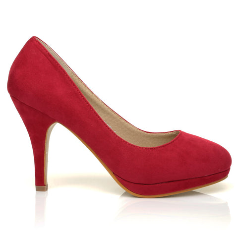 CHIP Red Faux Suede Pumps Mid-High Heel Low Platform Office Court Shoes - ShuWish.com
