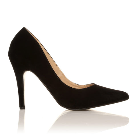 DARCY Black Faux Suede Stilleto High Heel Pointed Court Shoes - ShuWish.com