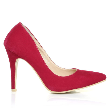 168f7a9a5fe2 DARCY Fuchsia Faux Suede Stilleto High Heel Pointed Court Shoes -  ShuWish.com ...