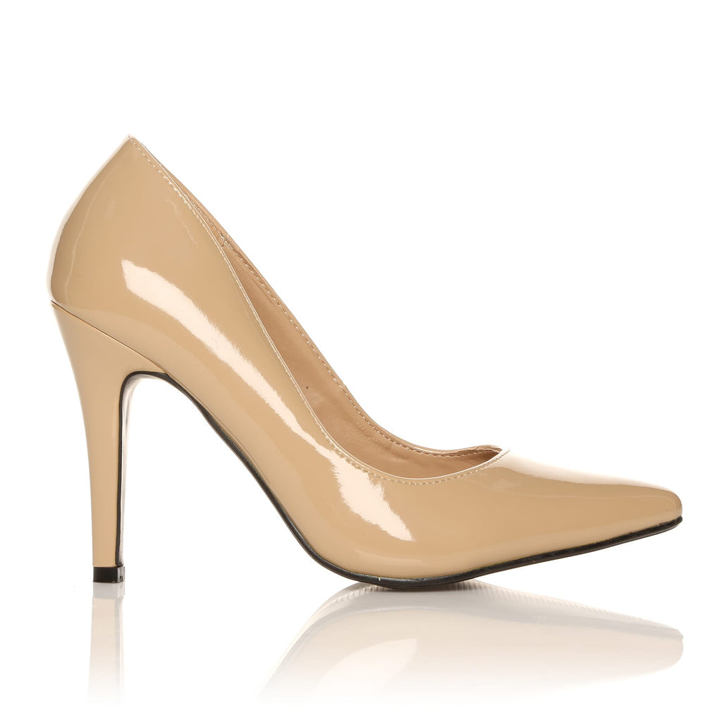 55682f02dd5 DARCY Nude Patent PU Leather Stilleto High Heel Pointed Court Shoes