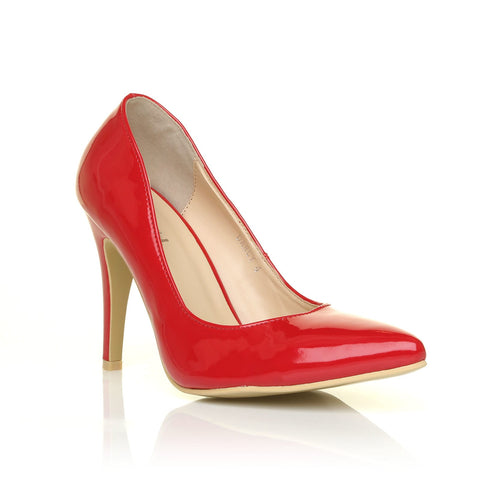DARCY Red Patent PU Leather Stilleto High Heel Pointed Court Shoes - ShuWish.com