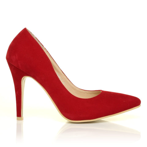 DARCY Red Faux Suede Stilleto High Heel Pointed Court Shoes - ShuWish.com