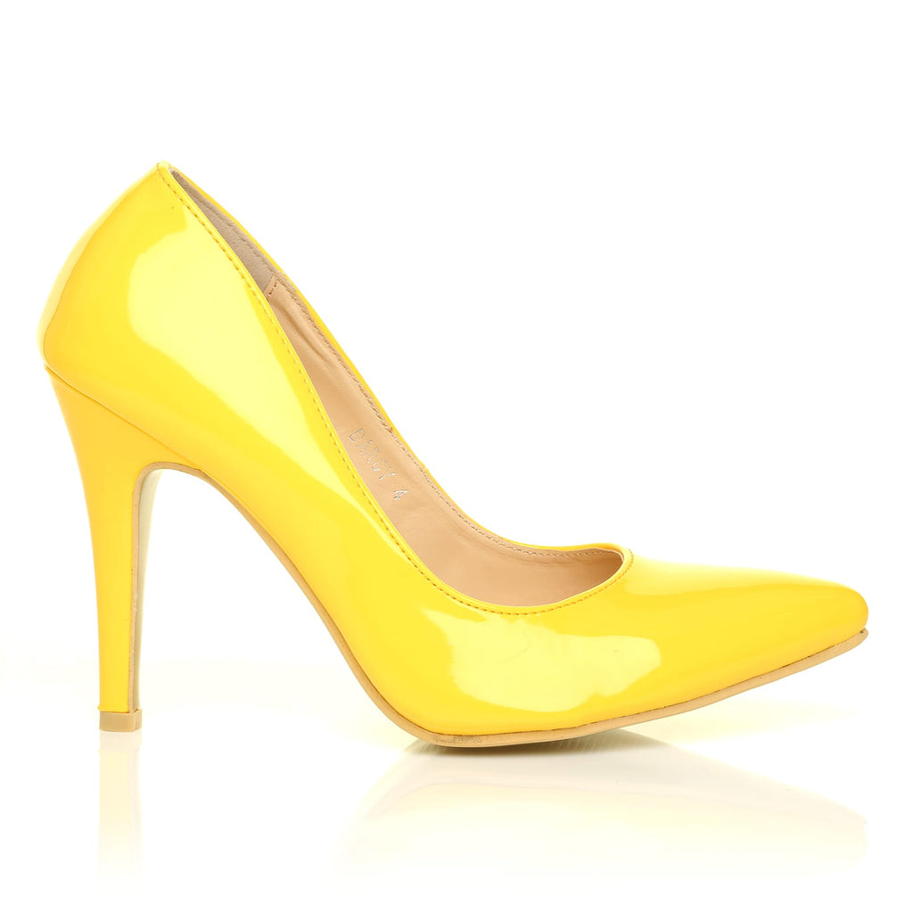 d3087caaa90 DARCY Yellow Patent PU Leather Stilleto High Heel Pointed Court Shoes