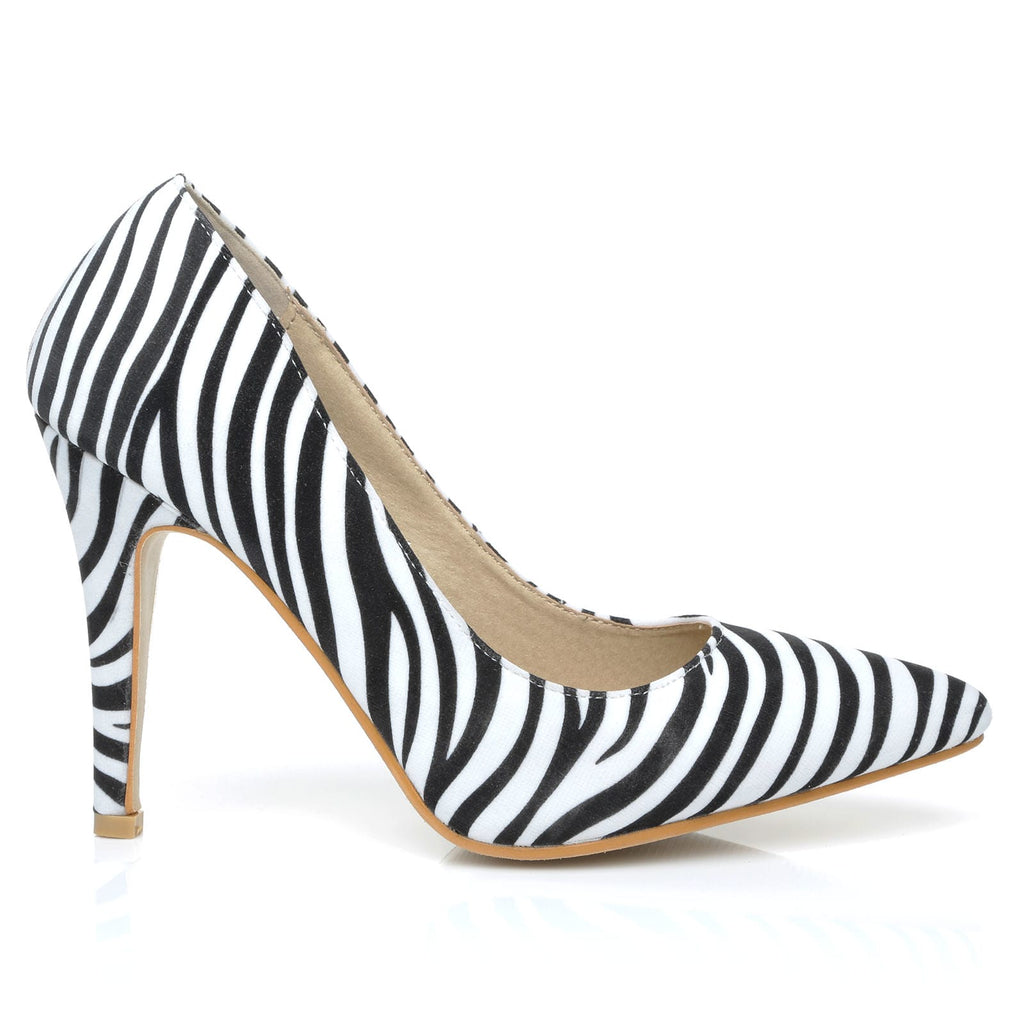 0a76d95db DARCY Zebra Print Microfibre Stilleto High Heel Pointed Court Shoes -  ShuWish UK