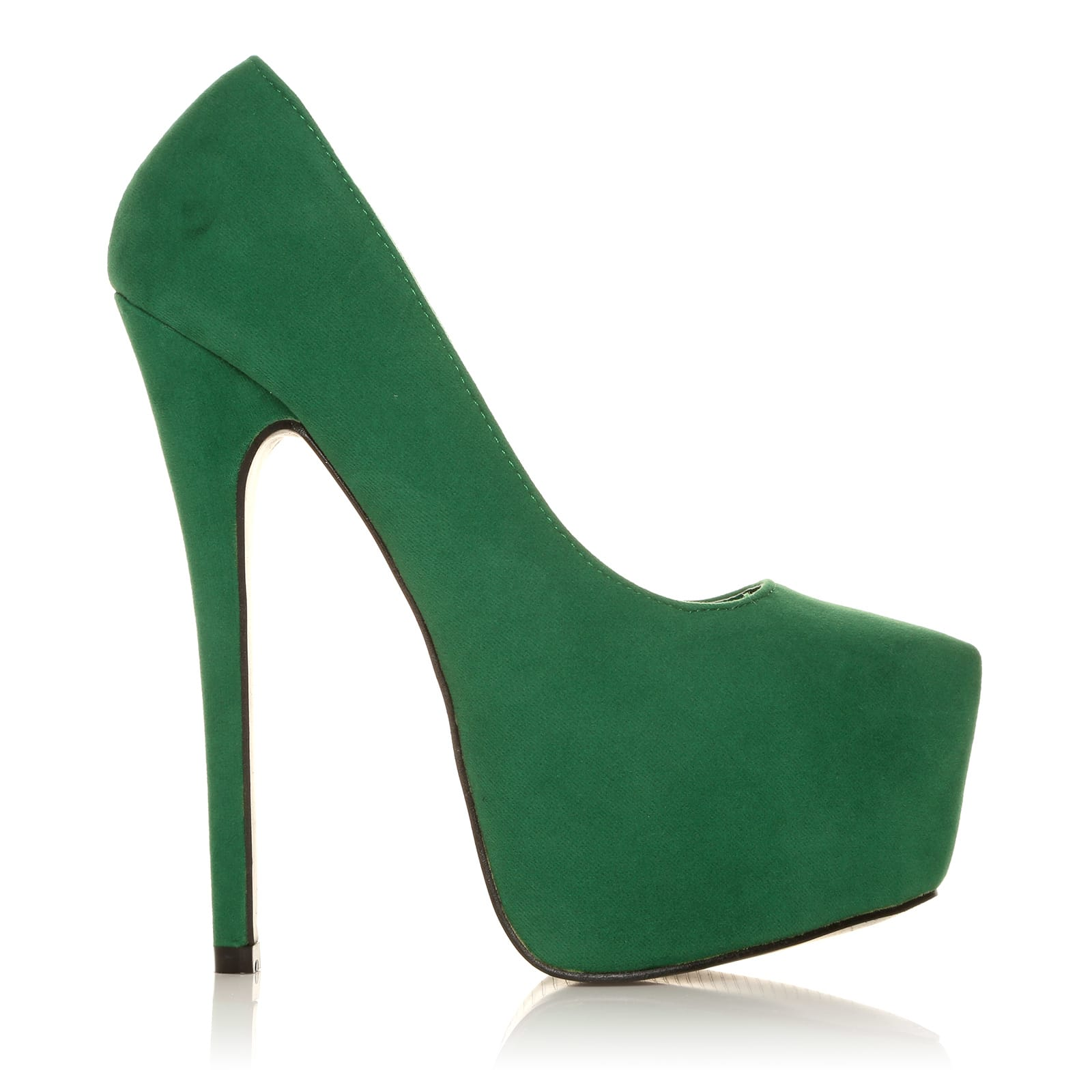 e2312cf28b5e DONNA Green Faux Suede Stilleto Very High Heel Platform Court Shoes