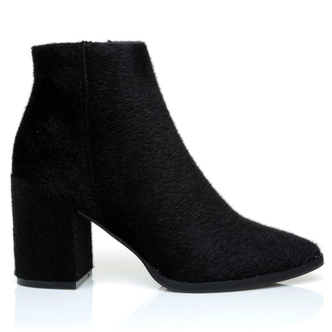 EAGLE Black Pony Tail Chunky Block Heel Pointed Ankle Boots - ShuWish.com