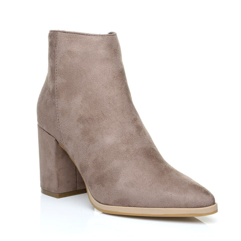 EAGLE Taupe Faux Suede Chunky Block  Heel Pointed Ankle Boots - ShuWish.com