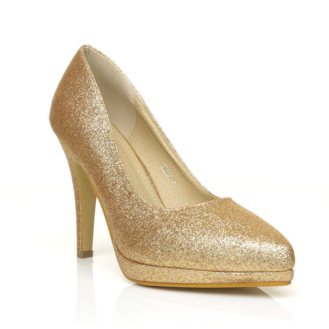 5cc627b18f12 EMMA Champagne Gold Glitter Stiletto High Heel Platform Pointed Shoes