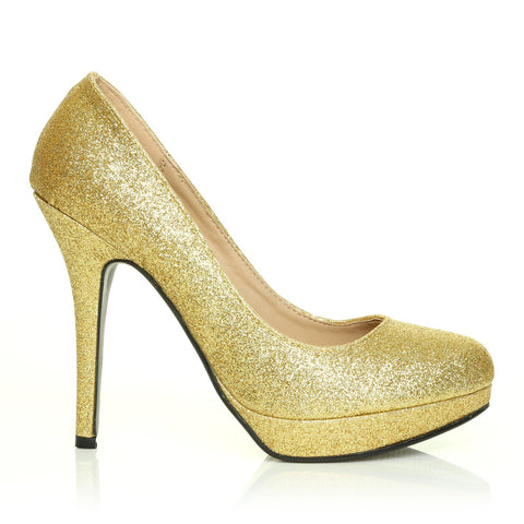 EVE Gold Glitter Stiletto High Heel Platform Court Shoes - ShuWish.com