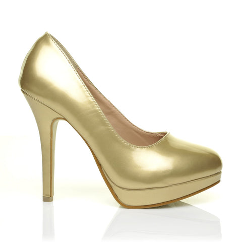99c75534637b EVE Gold PU Leather Stiletto High Heel Platform Court Shoes - ShuWish.com  ...
