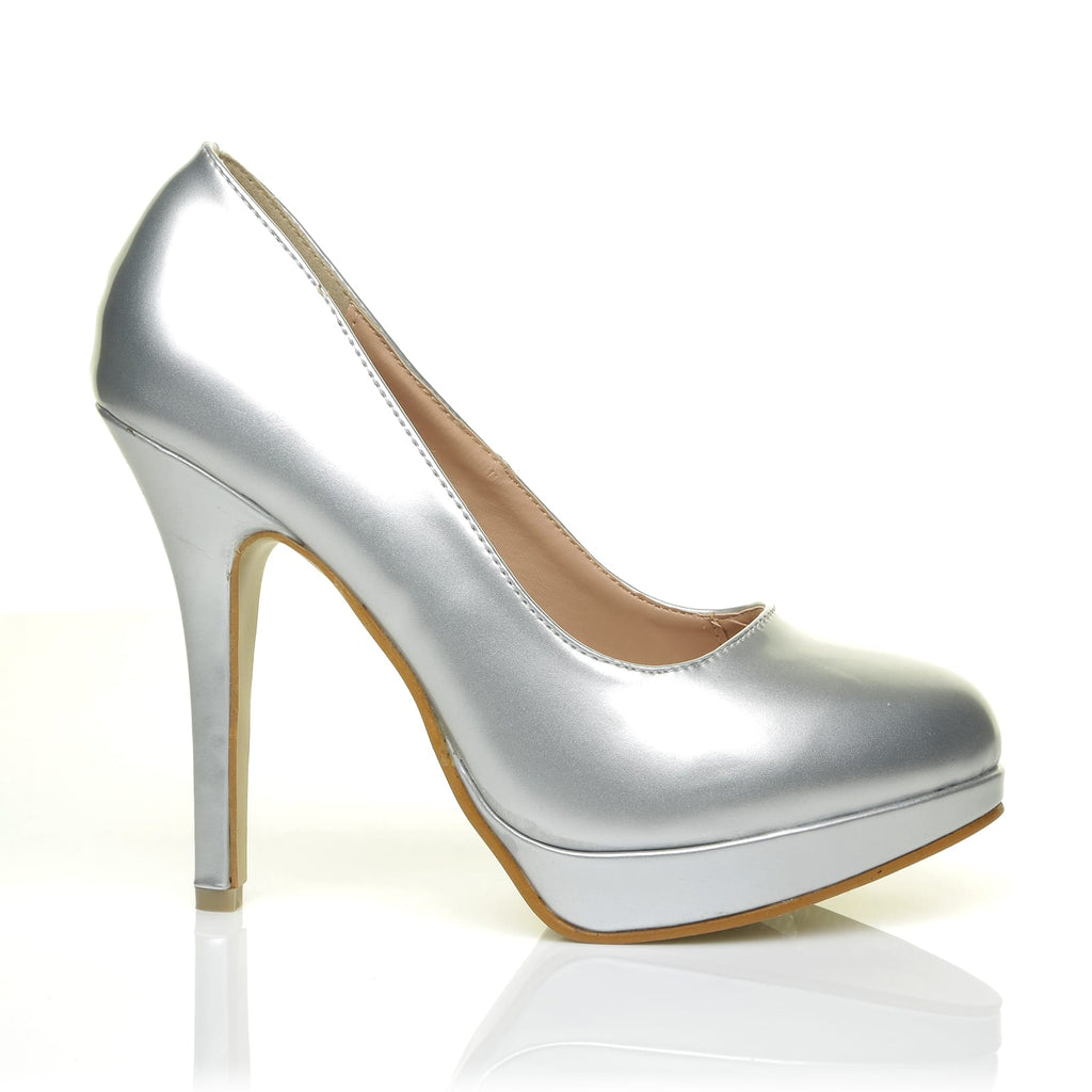 6250f8912464 EVE Silver PU Leather Stiletto High Heel Platform Court Shoes - ShuWish UK