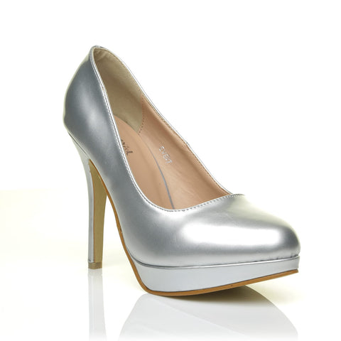 EVE Silver PU Leather Stiletto High Heel Platform Court Shoes - ShuWish.com