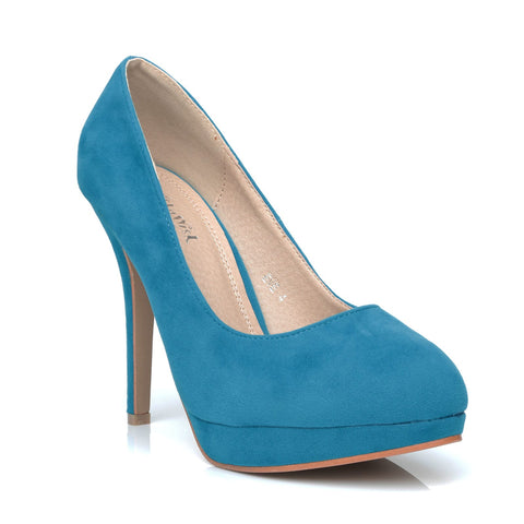 0796554678d9 ... EVE Turquoise Faux Suede Stiletto High Heel Platform Court Shoes -  ShuWish.com