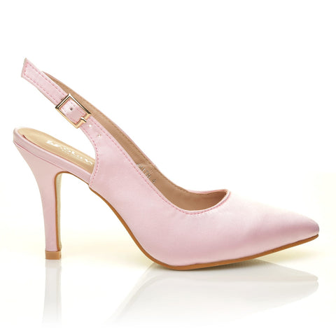 FAITH Baby Pink Satin Stiletto High Heel Slingback Bridal Court Shoes - ShuWish.com