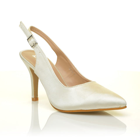 FAITH Ivory Satin Stiletto High Heel Slingback Bridal Court Shoes - ShuWish.com