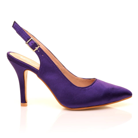 FAITH Purple Satin Stiletto High Heel Slingback Bridal Court Shoes - ShuWish.com
