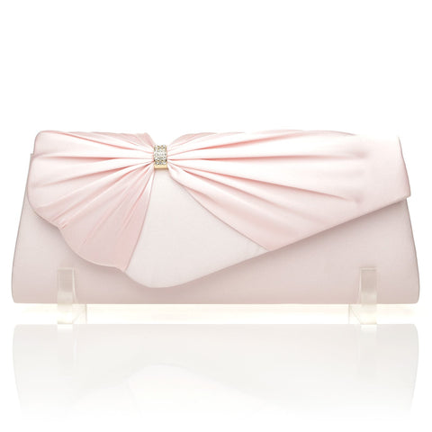 GABRIEL Baby Pink Satin Medium Size Pleated Fold Over Clutch Bag - ShuWish.com