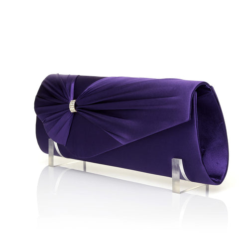 GABRIEL Purple Satin Medium Size Pleated Fold Over Clutch Bag - ShuWish.com
