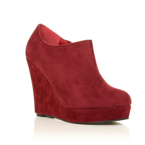 H051 Burgundy Faux Suede Wedge Very High Heel Platform Shoes