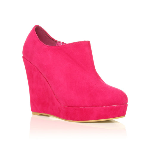 H051 Fuchsia Faux Suede Wedge Very High Heel Platform Shoes