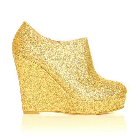 H051 Gold Glitter Wedge Very High Heel Platform Shoes
