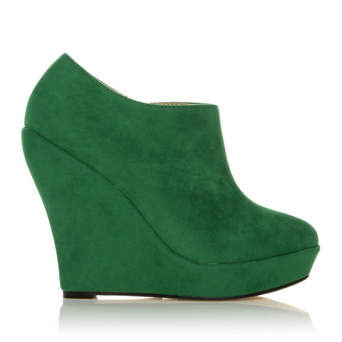 H051 Green Faux Suede Wedge Very High Heel Platform Shoes