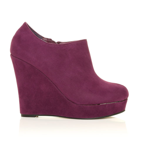 H051 Purple Faux Suede Wedge Very High Heel Platform Shoes