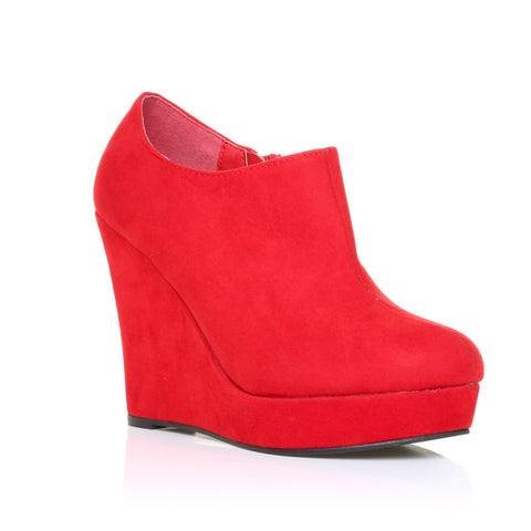 H051 Red Faux Suede Wedge Very High Heel Platform Shoes