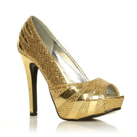 H13 Gold Glitter Stiletto High Heel Party Peep Toe Shoes