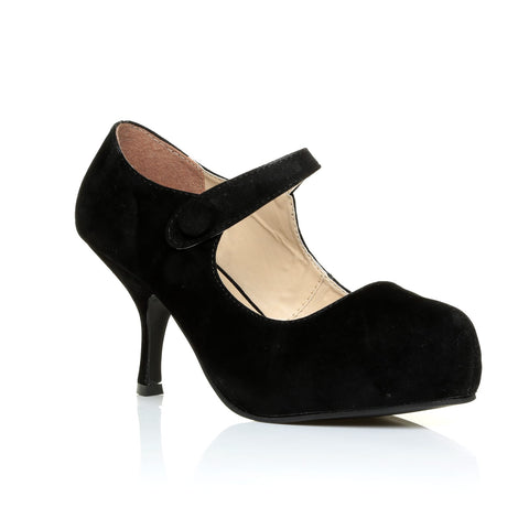 H213 Black Faux Suede Kitten Mid Heel Concealed Platforms Mary Jane Shoes