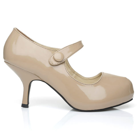 H213 Dark Nude Patent PU Leather Stiletto Mid Heel Mary Janes Shoes