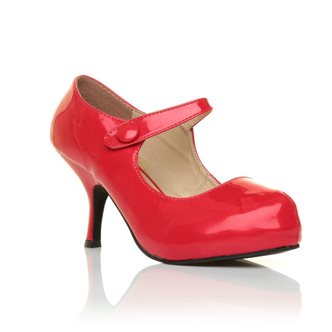 H213 Red Patent PU Leather Stiletto Mid Heel Mary Janes Shoes - ShuWish.com