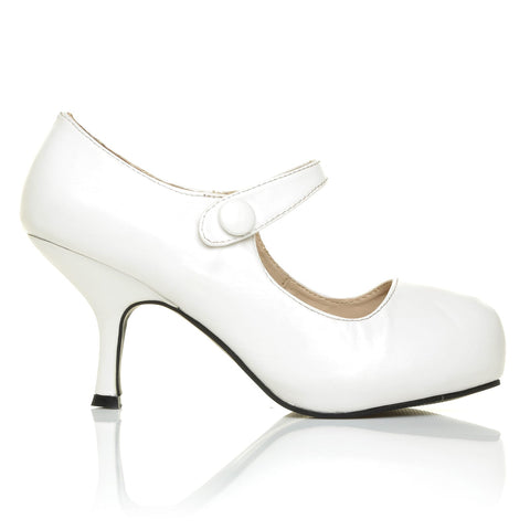 H213 White PU Leather Stiletto Mid Heel Mary Janes Shoes