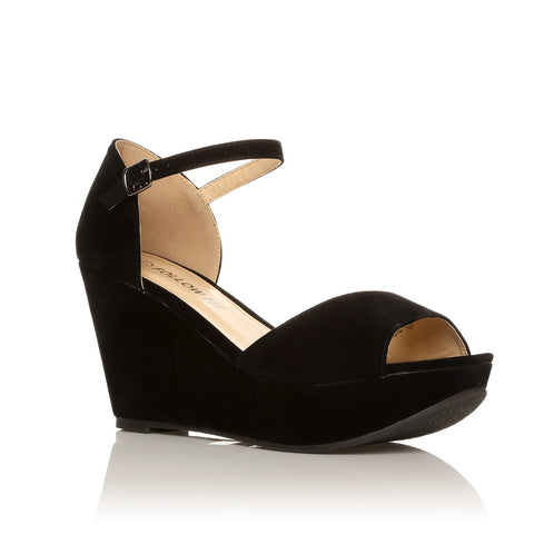 LACIE Black Faux Suede Wedge High Heel Platform Peep Toes