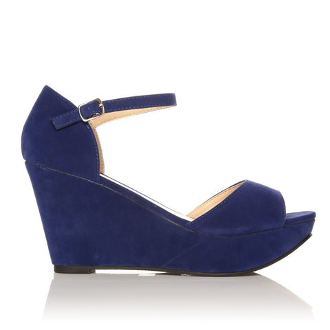 LACIE Blue Faux Suede Wedge High Heel Platform Peep Toes