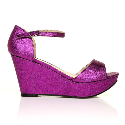 LACIE Purple Glitter Wedge High Heel Platform Peep Toes