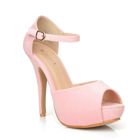 LONDON Baby Pink Faux Suede Ankle Strap Platform Peep Toe High Heels