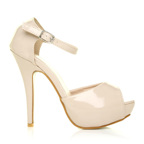 London Nude Patent Ankle Strap Platform Peep Toe High Heels