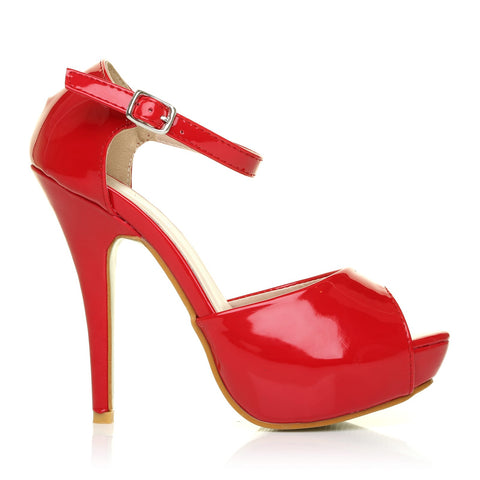 London Red Patent Ankle Strap Platform Peep Toe High Heels