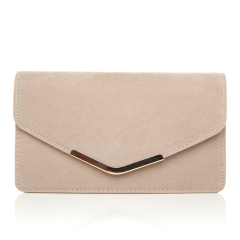 LUCKY Nude Suede Medium Size Clutch Bag