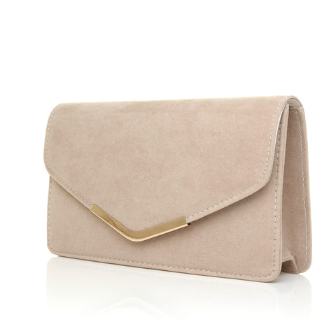 LUCKY Nude Suede Medium Size Clutch Bag -9905