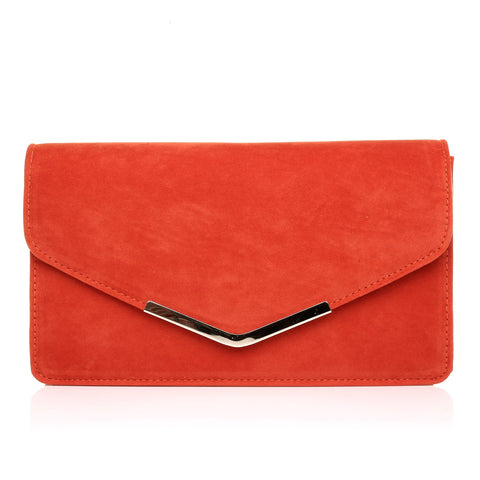 LUCKY Orange Suede Medium Size Clutch Bag -9905