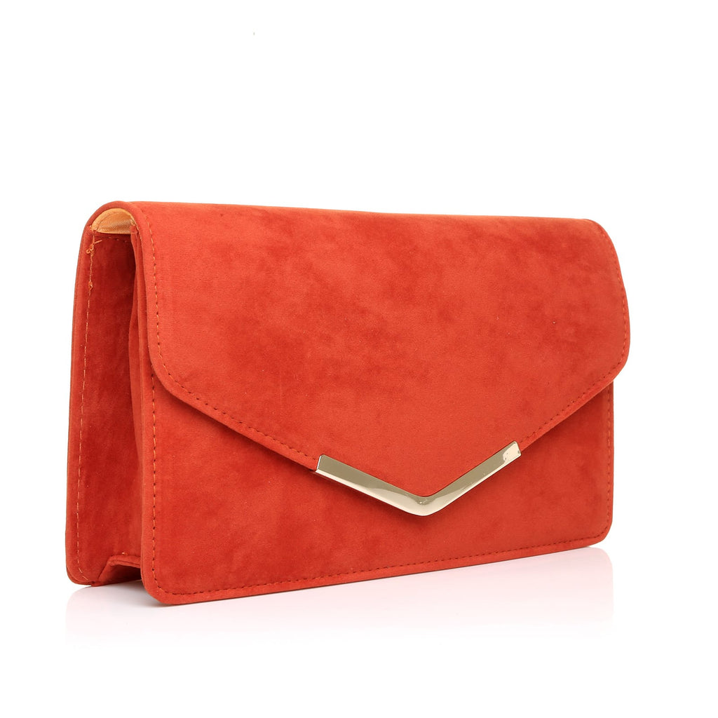 e36ef4e84a LUCKY Orange Suede Medium Size Clutch Bag -9905 - ShuWish UK