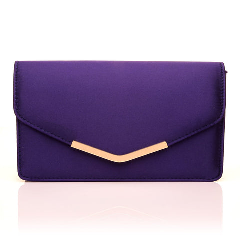 LUCKY Purple Satin Medium Size Clutch Bag