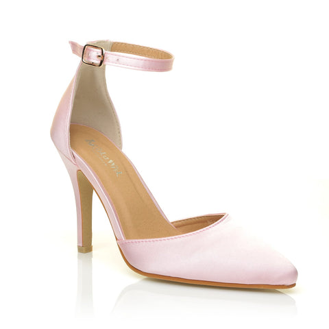 NEW YORK Baby Pink Satin Ankle Strap Pointed High Heel Bridal Court Shoes