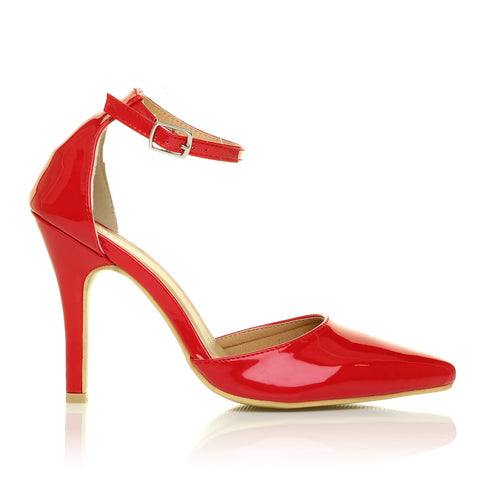 NEW YORK Red Patent Ankle Strap Pointed High Heel Court Shoes